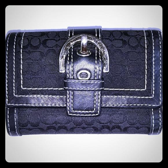 Coach Handbags - COACH SMALL SIGNATURE TRI-FOLD WALLET